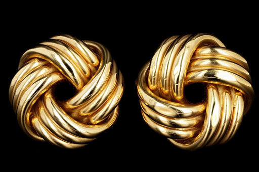 Tiffany & Co 18K Gold 3 Dimensional Love Knot Earrings - Queen May