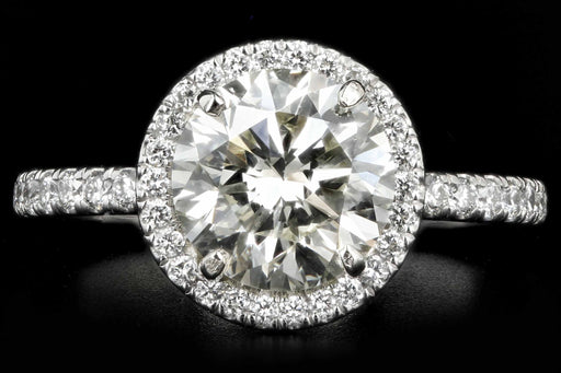 New Platinum 2.10 CTR Round Brilliant Cut Diamond Halo Engagement Ring GIA Certified - Queen May