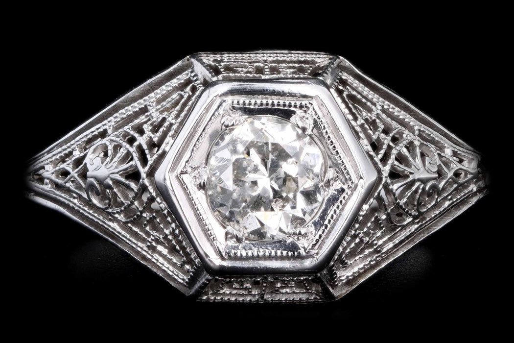 Art Deco 18K White Gold .30 Carat Old European Cut Diamond Filigree Ring - Queen May