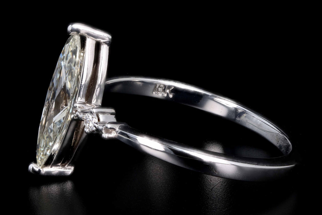 New 18K White Gold .92 Carat Marquise Cut Diamond Engagement Ring GIA Certified - Queen May