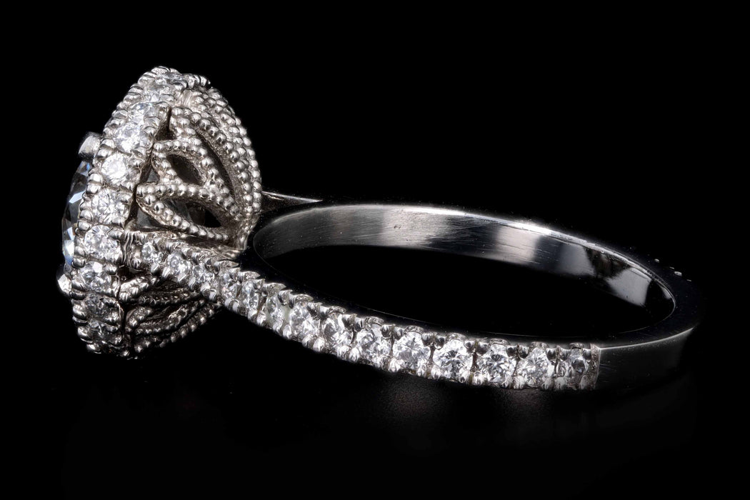 New Platinum 2.02 Carat Round Brilliant Cut Diamond Halo Engagement Ring GIA Certified - Queen May