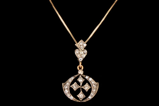 Vintage Inspired 18K Yellow Gold and Silver Top .20 CTW Diamond Lavalier Pendant Necklace - Queen May