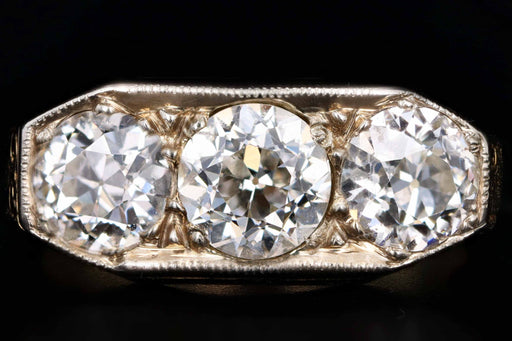 Edwardian 2.2 Carats in Total Diamond Three Stone Ring - Queen May