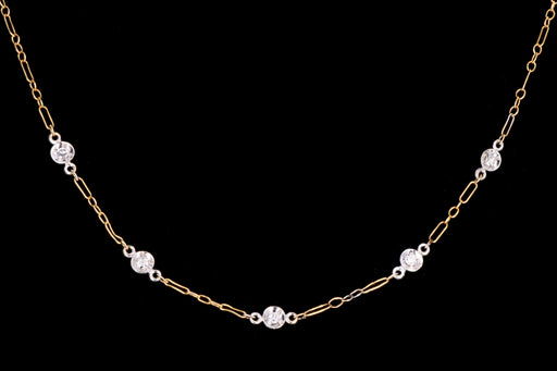 Modern 14K White & Yellow Gold .10 Carats Total Single Cut Diamond Station Necklace - Queen May