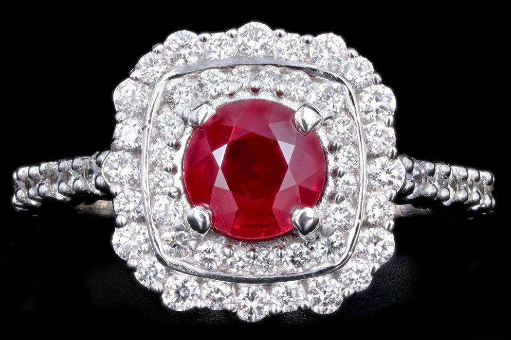 Modern 14K White Gold 1.02 Carat Natural Ruby and Diamond Double Halo Ring - Queen May