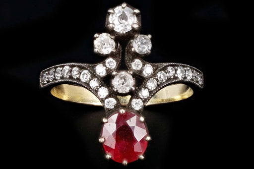 Victorian 18K Yellow Gold Silver Top 1 Carat Natural Ruby and Diamond Ring Size 6.25 - Queen May