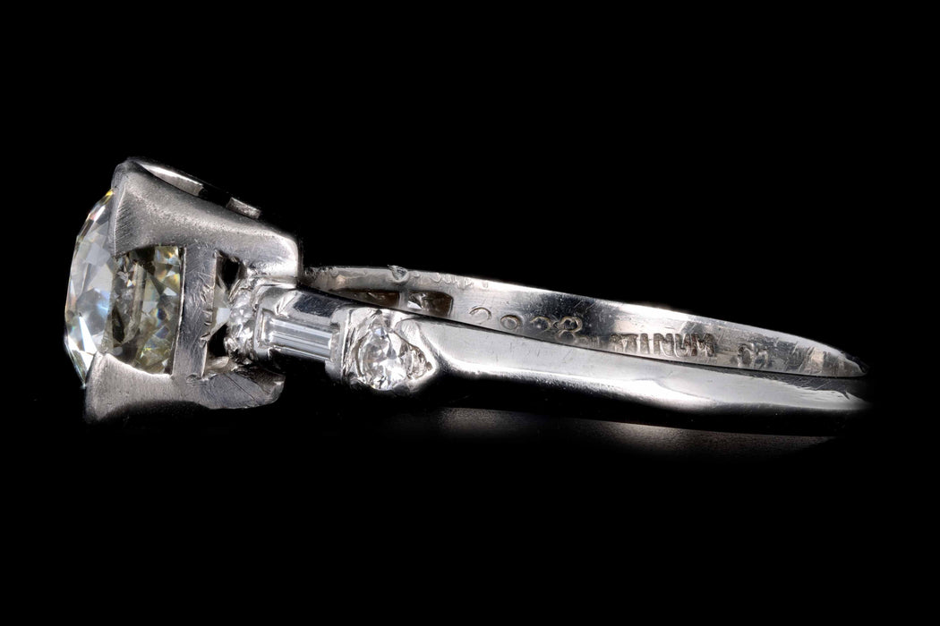 Art Deco Platinum 1.38 Carat Old European Cut Diamond Engagement Ring GIA Certified - Queen May