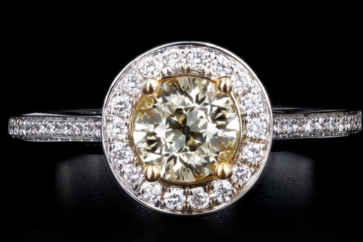 New 14K White Gold .65 Carat Fancy Light Yellow Diamond Halo Ring - Queen May