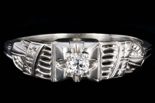 Art Deco 18K White Gold .10 CT Old Mine Cut Diamond Engagement Ring - Queen May