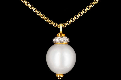 David Yurman 18K Gold Diamond & 12mm Pearl Pendant w/ Chain - Queen May
