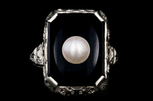 Art Deco 10K White Gold Filigree Onyx Pearl Ring - Queen May