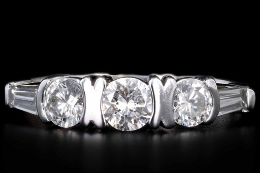 Modern 14K White Gold .75 CTW Round Brilliant and Tapered Baguette Cut Diamond Ring - Queen May