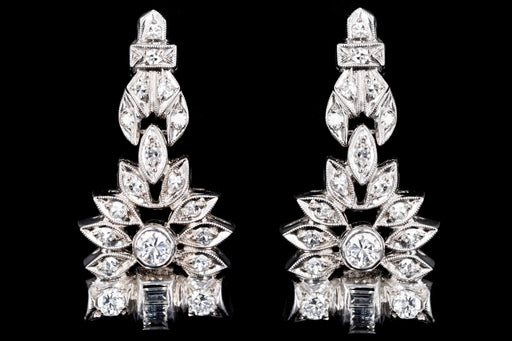 Retro Platinum 1 CTW Round Brilliant, Single Cut, and Baguette Cut Diamond Watch Conversion Dangle Earrings - Queen May
