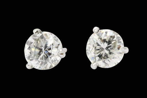 14K White Gold 1.95CTW Diamond Stud Earrings - Queen May