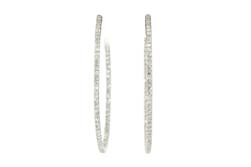 14K White Gold 1.5 CTW Diamond In And Out Hoop Earrings - Queen May