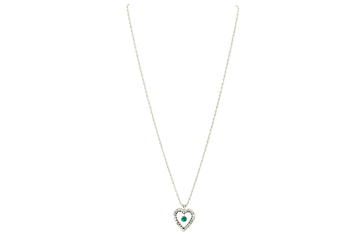 14K White Gold Emerald and Diamond Heart Necklace - Queen May