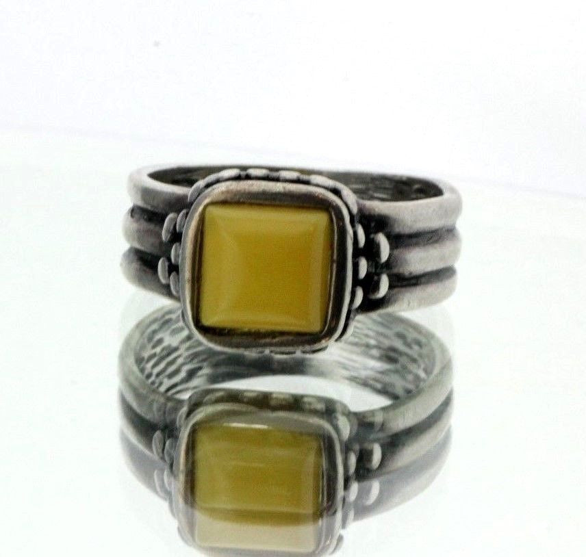 Sterling Silver Polish Gdansk Poland Designer Butterscotch Amber Ring Signed - Queen May