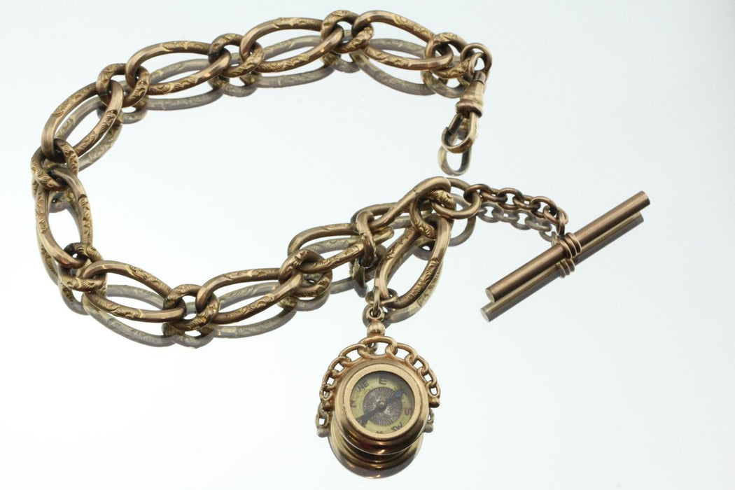 Antique Edwardian Heavy Gold Filled Pocket Watch Chain & Compass Fob - Queen May