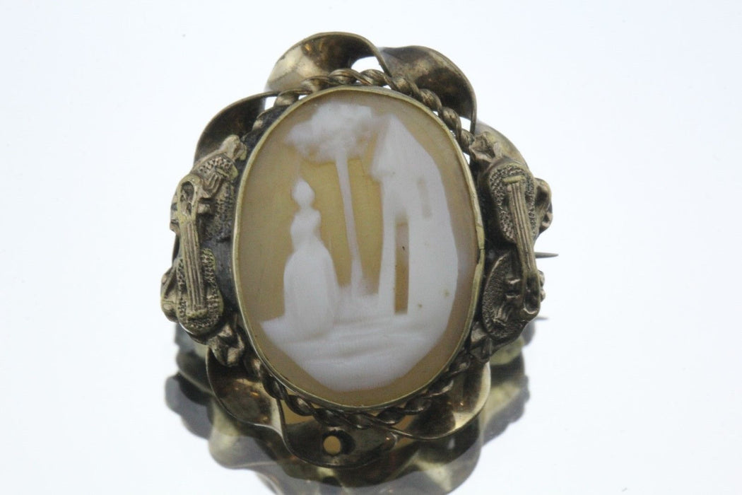 Antique Victorian Carved Scenic Shell Cameo Brooch Guitar Mandolin Border - Queen May