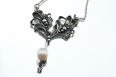 Vintage Sterling Silver Art Nouveau Jugendstil Pearl Designer Necklace Signed - Queen May