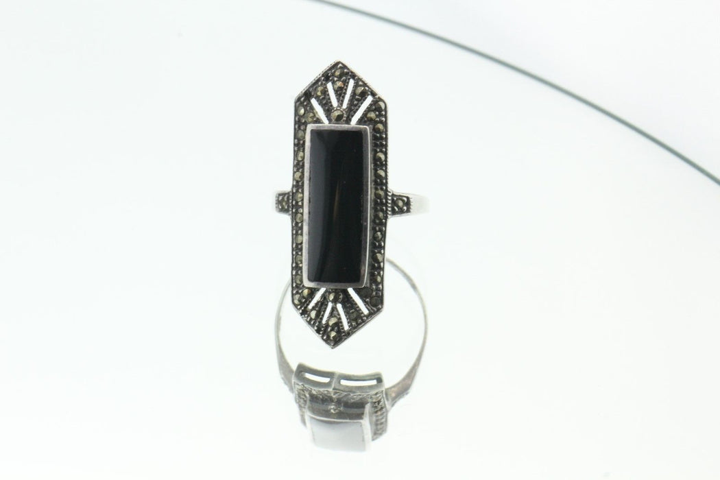 Vintage Sterling Silver Marcasite & Onyx Art Deco Ring - Queen May