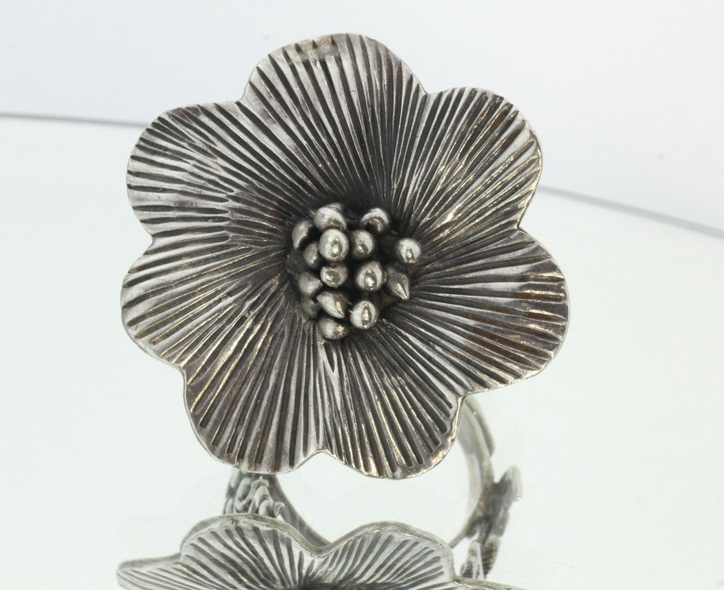 Large Chunky Sterling Silver Hand Made Flower Ring - Queen May