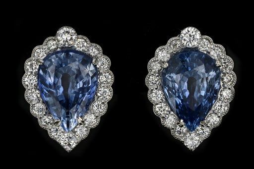 New 14K White Gold 13.13 Carat Weight Total Natural Sapphire & Diamond Earrings GIA Certified - Queen May