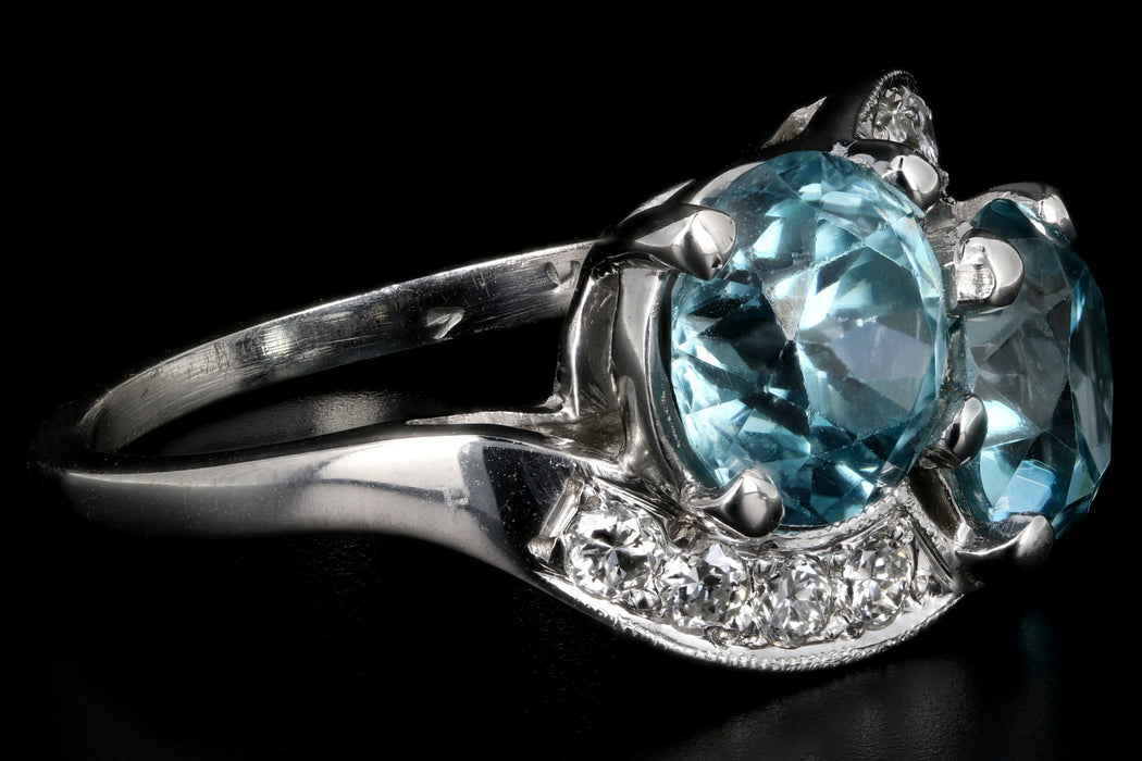 Mid Century 14K White Gold Blue Zircon and Diamond Ring - Queen May