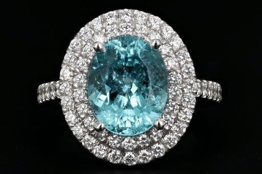 18K White Gold 3.29 Carat Paraiba-Type Tourmaline & Diamond Halo Ring AGL Certified - Queen May