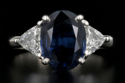 Platinum 3.30 Carat Natural Sapphire & Trillion Cut Diamond Ring - Queen May