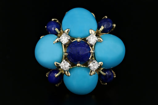 La Triomphe 14K Yellow Gold Turquoise, Lapis, & Diamond Ring - Queen May