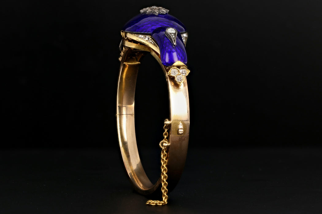 Victorian Yellow Gold Blue Enamel & Rose Cut Diamond Bangle - Queen May