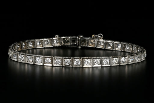 Art Deco Platinum 3 Carat Diamond Tennis Bracelet - Queen May