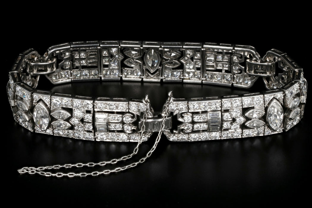 Art Deco Platinum 15CTW Diamond Bracelet c.1920's - Queen May