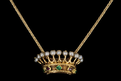 Victorian 18K Gold Ruby Emerald Pearl Crown Pendant Necklace c.1840s - Queen May