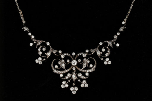 Edwardian Platinum Top 4 Carat Diamond Convertible Necklace & Tiara - Queen May