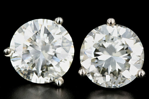 New 14K White Gold 4.03 CTW Round Brilliant Cut Diamond Martini Stud Earrings - Queen May