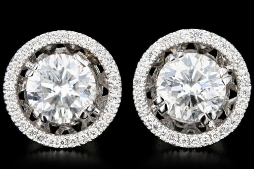 New 18K White Gold 2.22 CTW Round Brilliant Cut Diamond Halo Stud Earrings - Queen May