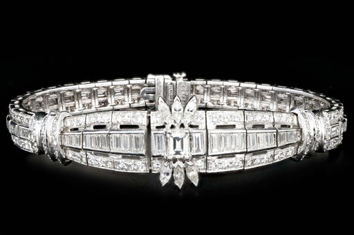 Art Deco Platinum 6 Carat Emerald, Marquise, Straight Baguette, and Single Cut Diamond Bracelet - Queen May