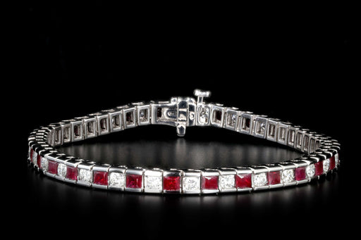 New 14K White Gold 2.3 Carat Diamond and 5.5 Carat Ruby Tennis Bracelet - Queen May