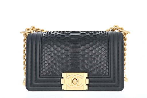 Chanel Exotics  Small Boy Bag Black Python Molurus Leather - Queen May