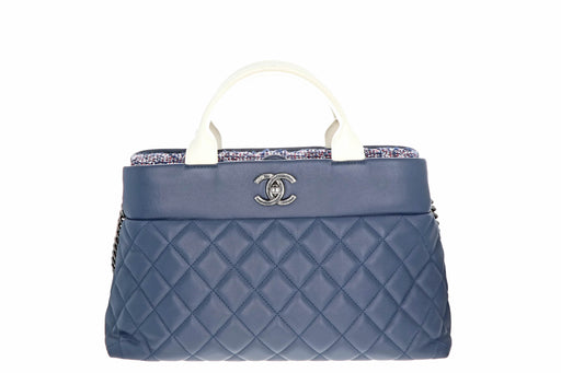 Chanel Blue Matelasse Hand 2Way Should Bag Leather Tweed - Queen May