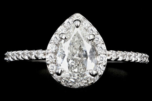 New 14K White Gold .93 CTS Pear Shape Diamond Halo Engagement Ring GIA Certification - Queen May