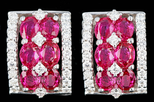 Modern Gregg Ruth 18K White Gold 2.41 Carats Oval Ruby and .58 Carats Round Diamond Earrings - Queen May