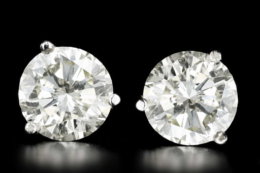 New 14K White Gold 2.5 CTW Round Brilliant Cut Diamond Martini Stud Earrings - Queen May
