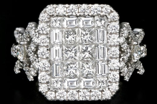 New 18K White Gold 2.26 Carats Princess, Baguette, and Round Cut Diamond Ring