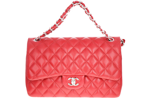 Chanel Classic Jumbo Double Flap Bag Red Lambskin Leather - Queen May