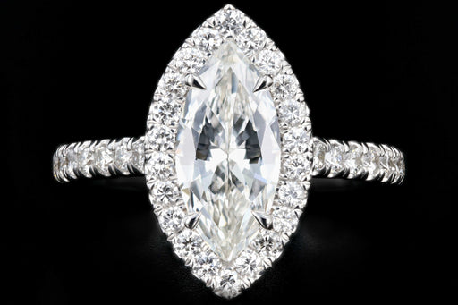 New 18K White Gold 1.47 CT Marquise Cut Diamond Engagement Ring GIA Certified - Queen May