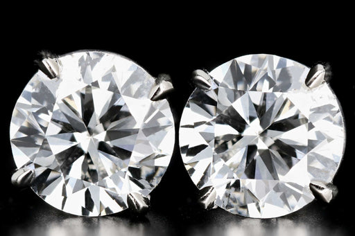 New 14K White Gold 4 CTW Round Brilliant Cut Diamond Stud Earrings - Queen May