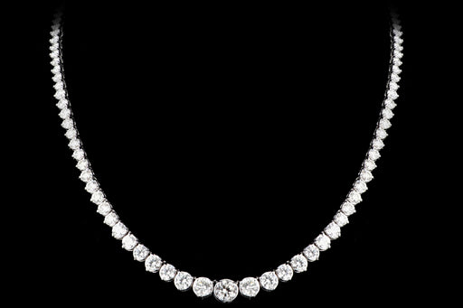 New 14K White Gold 17.39 CTW Graduated Round Brilliant Diamond Necklace - Queen May